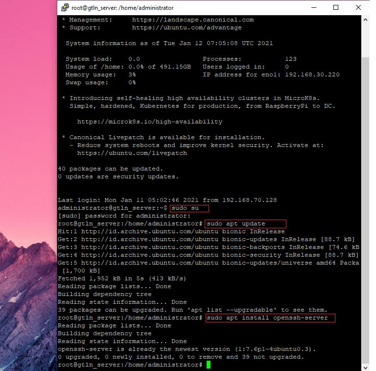 Cara Install Dan Mengaktifkan SSH Di Ubuntu Server 18.04