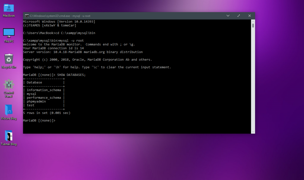 Cara Membuat Database MySQL XAMPP di CMD