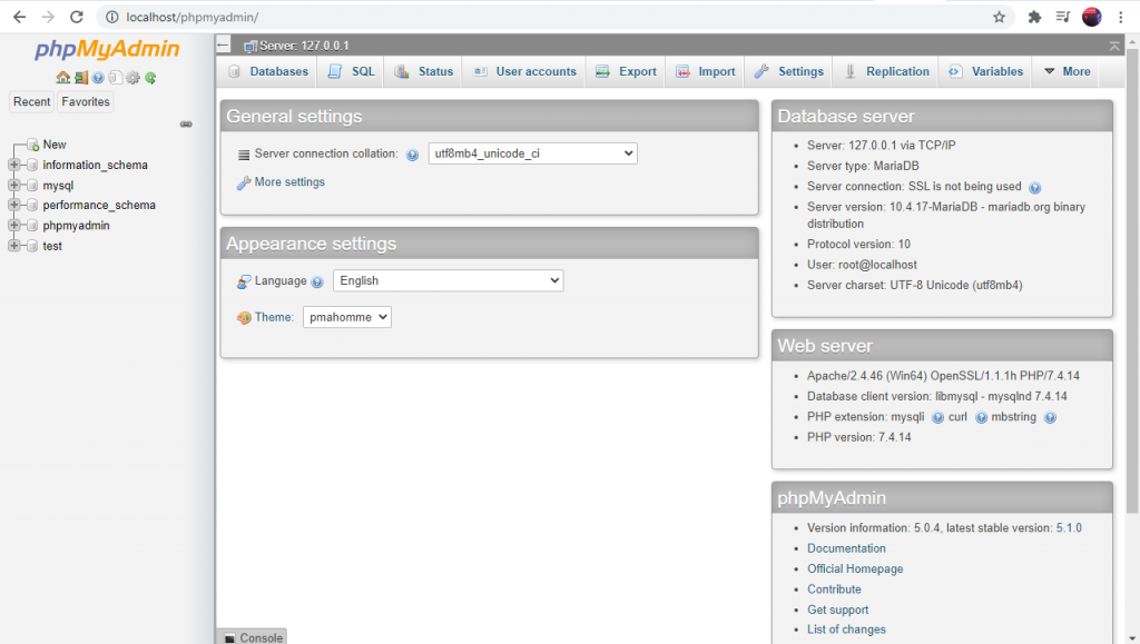 cara akses localhost/phpmyadmin