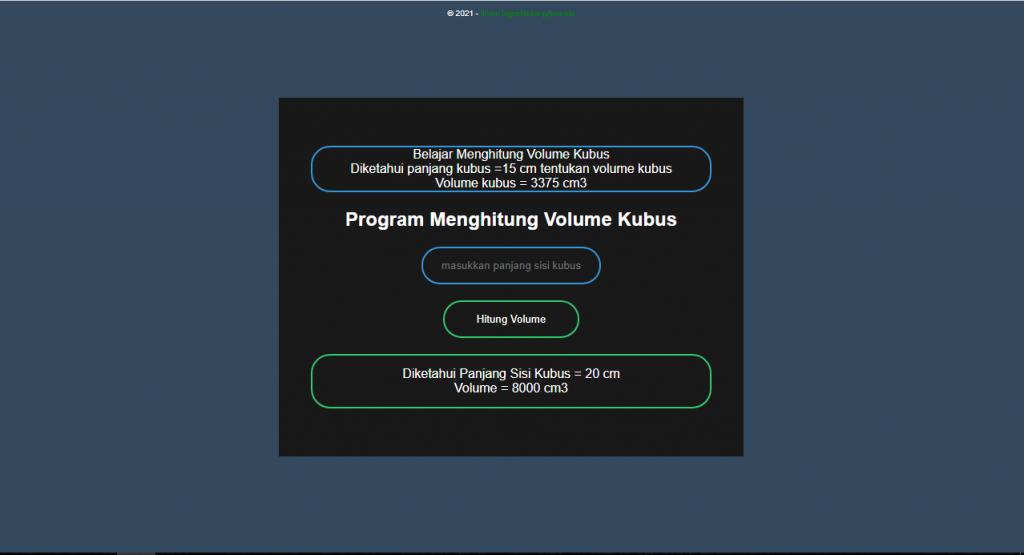 Program Menghitung Volume Kubus PHP